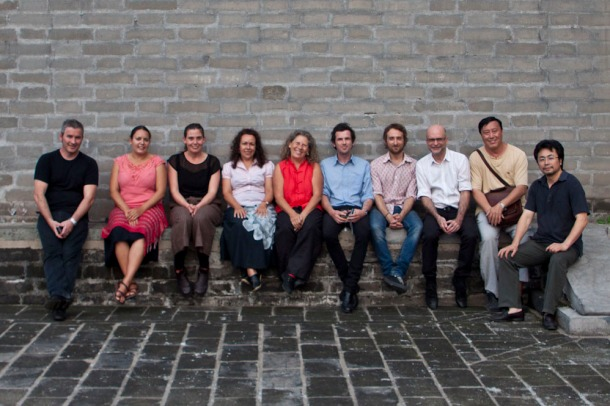 1. Red Gate Cutural Exchange Program Team from left Peter Gardiner, Frances Belle Parker, China de la Vega, Fiona Foley, Catherine Croll, Phil James, Guy Meastri, Brian Wallace, Guan Wei, Zhou Jirong