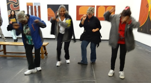Catherine Croll - Agnes Armstrong, Peggy Griffiths, Cathy Cummings and Dora Griffiths 'dancing' at their opening at OFOTO Gallery M50 Shanghai - April 2013 c