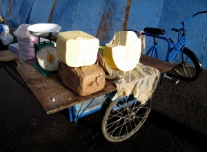 A cart piled with Yak butter and Cheese