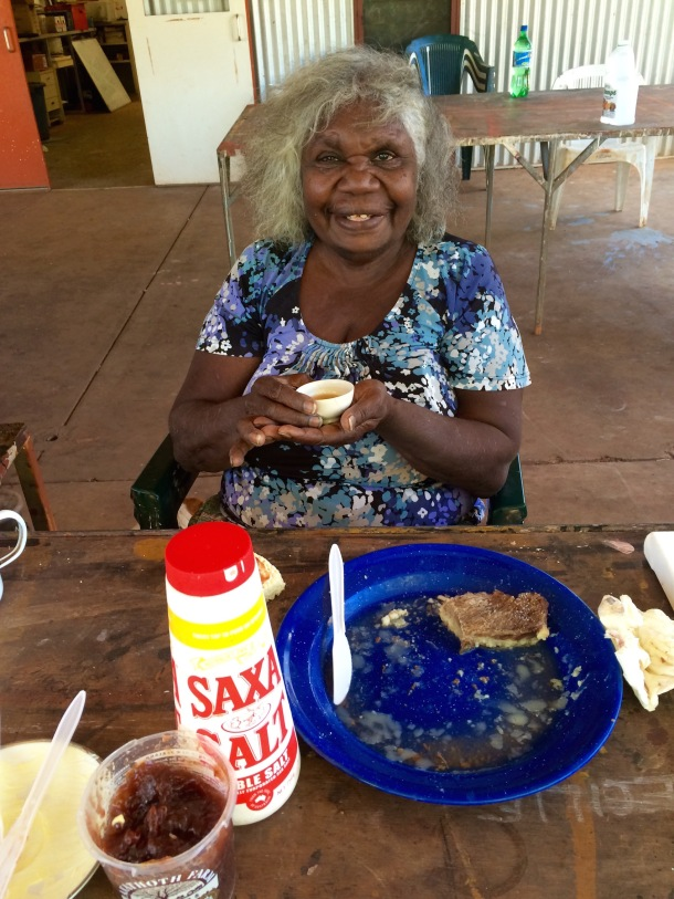 Aboriginal Elder, Agnes Armstrong enjoys a Chinese Tea Ceremony at Waringarri Arts Kununurra