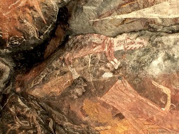 Ancient image of the long extinct Thylacine (Tasmanian Tiger) on Injaluk Hill