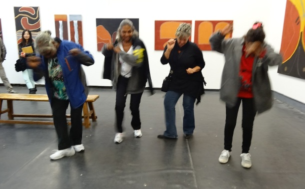 Agnes Armstrong, Peggy Griffiths, Cathy Cummings and Dora Griffiths 'dancing' at their opening at OFOTO Gallery M50 Shanghai - April 2013