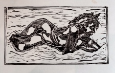 Self Portrait, lino cut, , lino cut, 20cm x 40cm